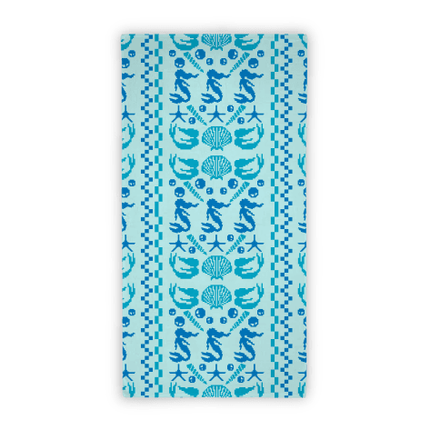Ugly Mermaid Sweater Pixels Beach Towel