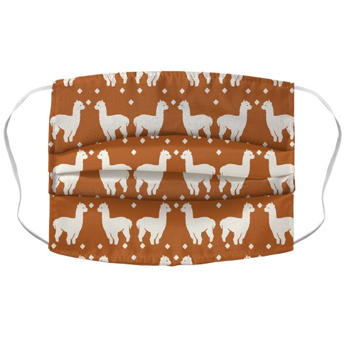 Llama Rust Boho Pattern Accordion Face Mask