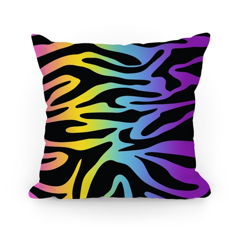 Rainbow Tiger Print Pillow
