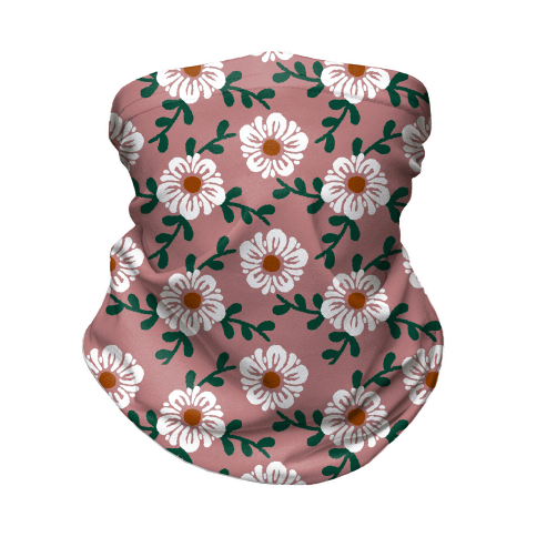Retro Flowers and Vines Dusty Pink Neck Gaiter