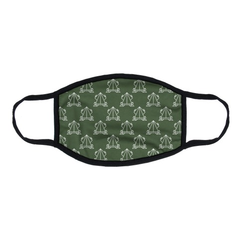 Origami Frog Pattern Chive Green Flat Face Mask