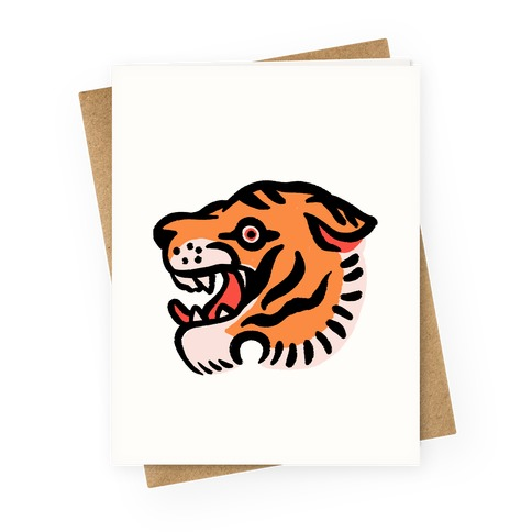 Old School Tiger Tattoo Head Greeting Card