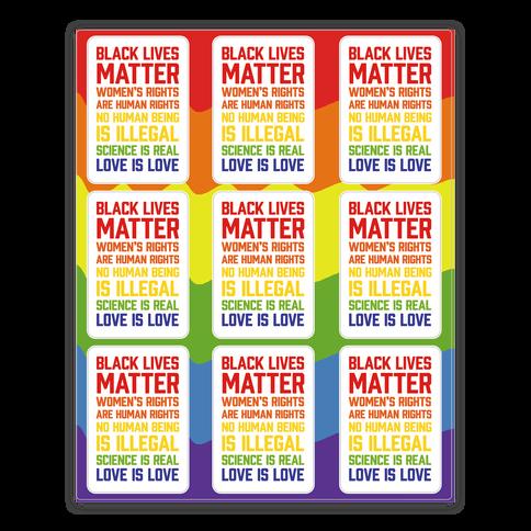 Black Lives Matter List Sticker/Decal Sheet