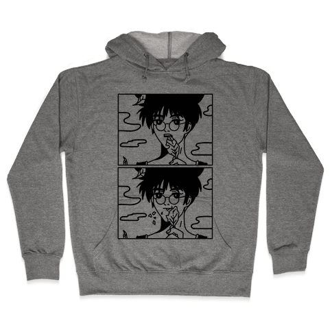 Anime Guy Eating a Leaf Hooded Sweatshirt