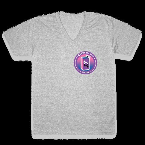 Genderfluid Pride Patch V-Neck Tee Shirt
