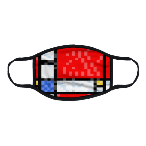 Pixelated Composition With Red Blue And Yellow Flat Face Mask