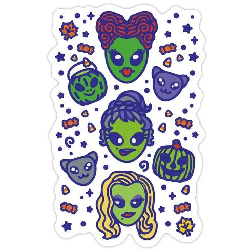 Witch Alien Sisters Parody Die Cut Sticker