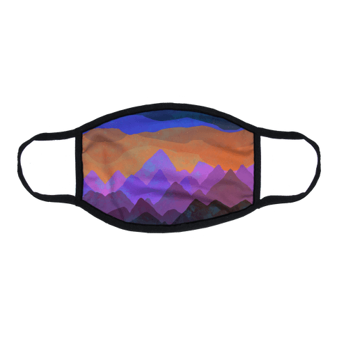 Abstract Mountain Sunset Flat Face Mask