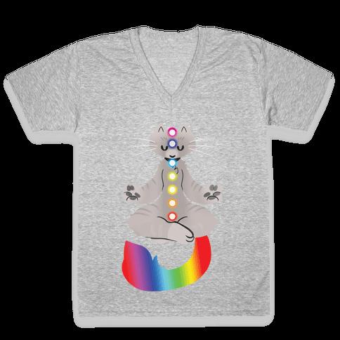 Chakra Cat V-Neck Tee Shirt