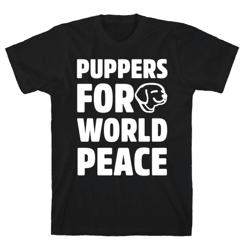 Puppers For World Peace White Print Mens T-Shirt