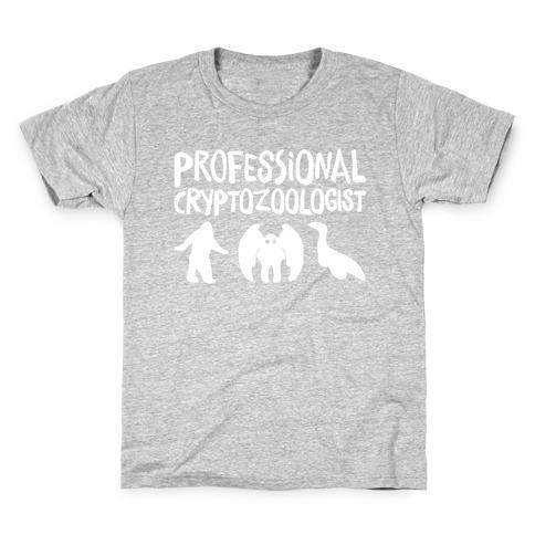 Professional Cryptozoologist White Print Kids T-Shirt