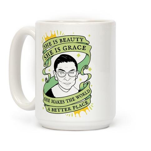 She Is Beauty, She is Grace RBG Coffee Mug