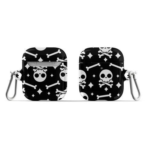 Cute Skull N' Bones Pattern (Black) AirPod Case