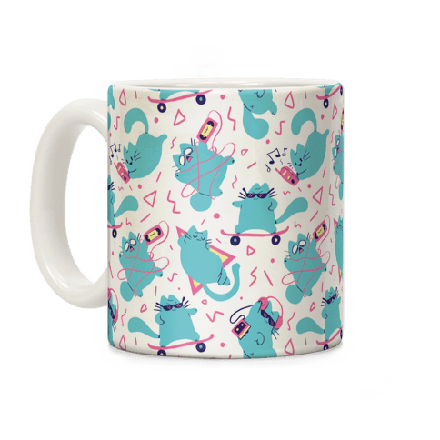 90's Cats Pattern Coffee Mug