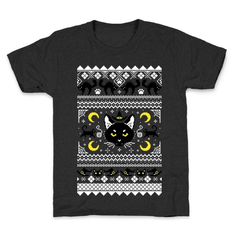 Witchy Black Cats Ugly Sweater Kids T-Shirt