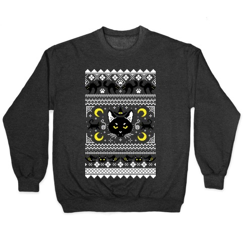 Witchy Black Cats Ugly Sweater Pullover
