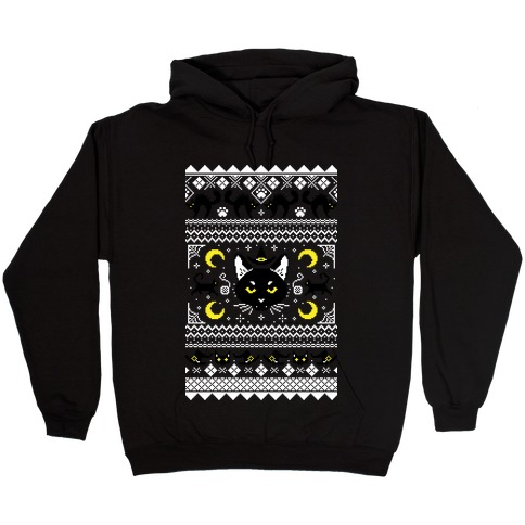Witchy Black Cats Ugly Sweater Hooded Sweatshirt