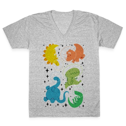 Space Dinos V-Neck Tee Shirt