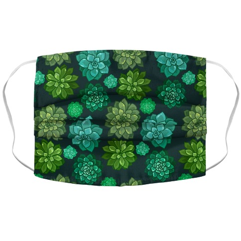 Green Succulent Pattern Accordion Face Mask