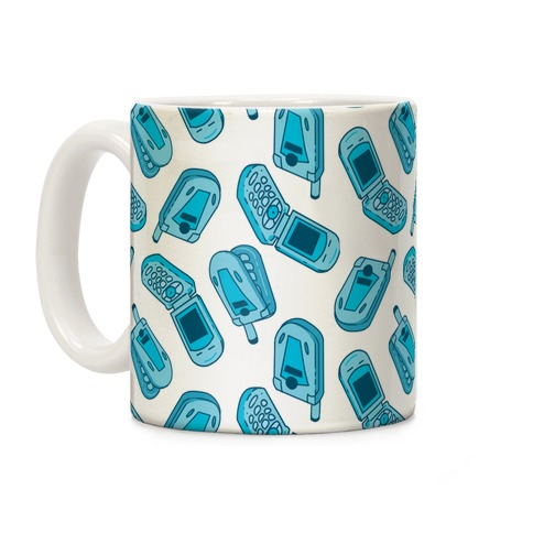 Blue Flip Phone Pattern Coffee Mug