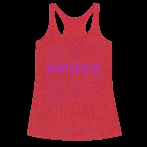 Amuck Amuck Amuck Thank You Hocus Pocus Parody White Print Racerback Tank Top