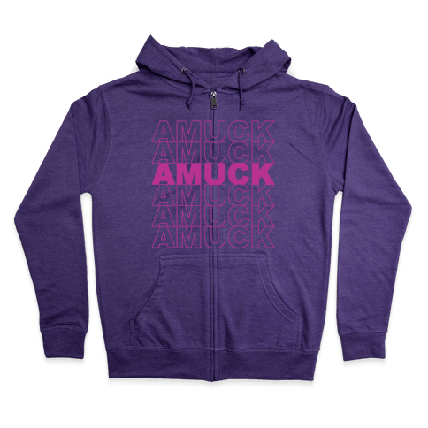 Amuck Amuck Amuck Thank You Hocus Pocus Parody White Print Zip Hoodie