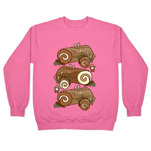 Holiday Yule Logs White Print Pullover