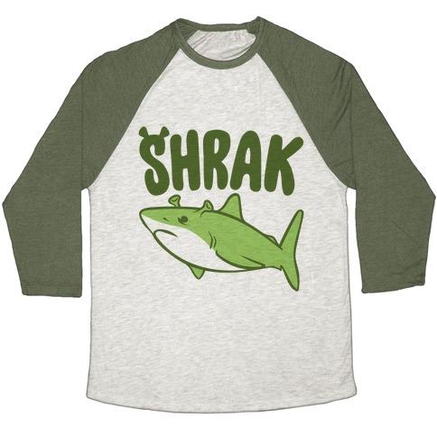 Shrak Shrek Shark Parody Baseball Tee