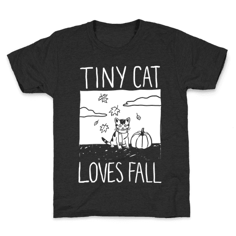 Tiny Cat Loves Fall Kids T-Shirt