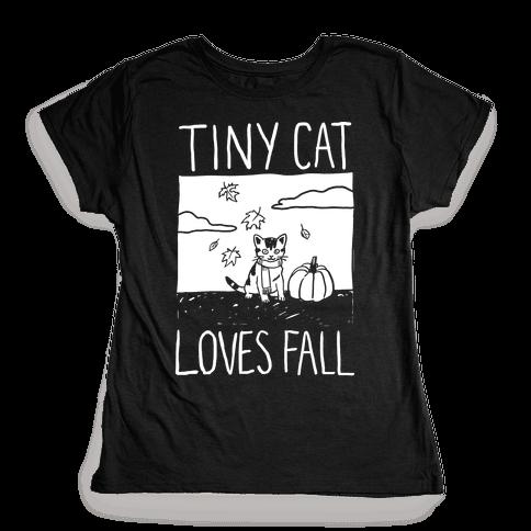 Tiny Cat Loves Fall Womens T-Shirt