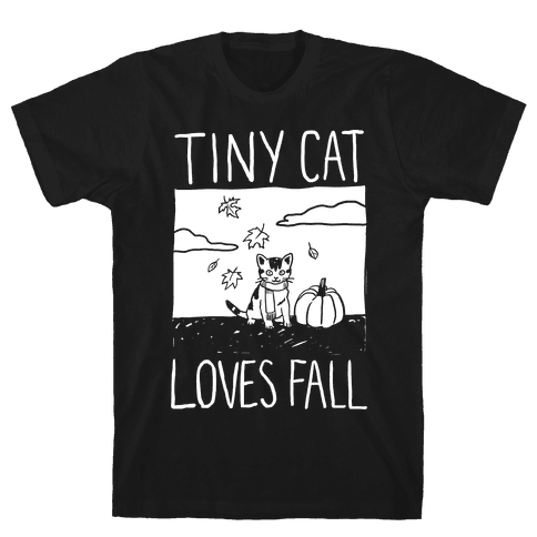 Tiny Cat Loves Fall Mens T-Shirt