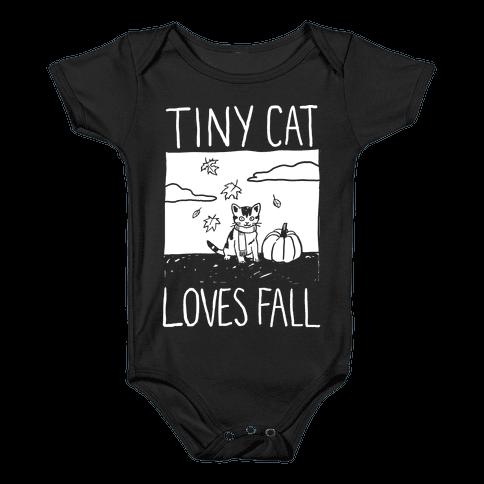 Tiny Cat Loves Fall Baby Onesy