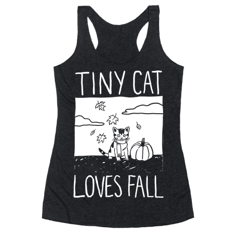Tiny Cat Loves Fall Racerback Tank Top