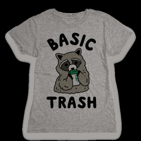 Basic Trash Coffee Raccoon Womens T-Shirt