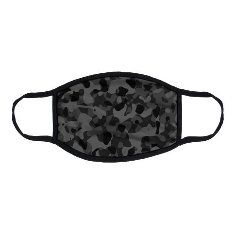 subtle black camo Flat Face Mask