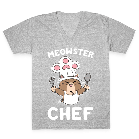 Meowster Chef V-Neck Tee Shirt