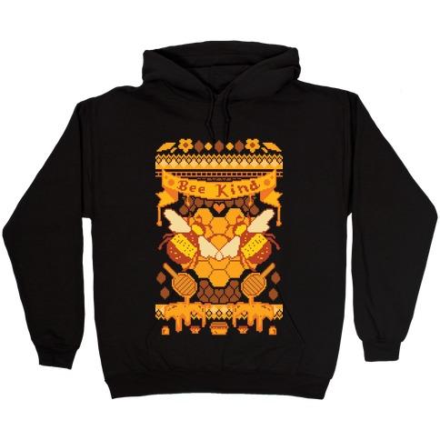 Bee Kind Sweater Pattern Hooded Sweatshirt
