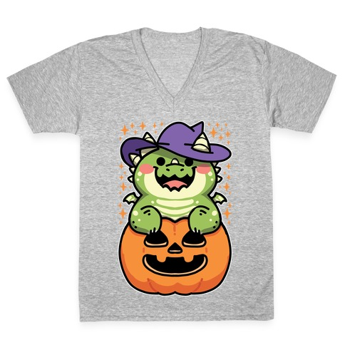 Cute Halloween Dragon V-Neck Tee Shirt