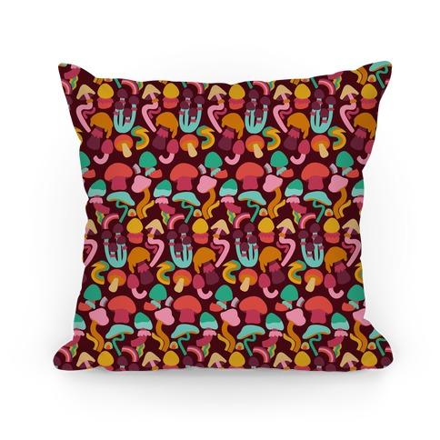 Retro Groovy Mushroom Pattern Pillow