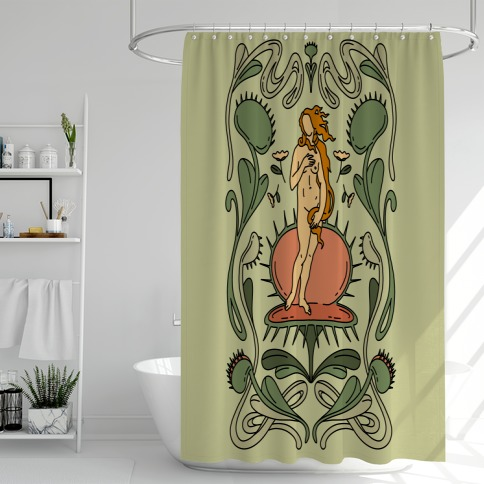 The Birth of Venus Fly Trap Shower Curtain
