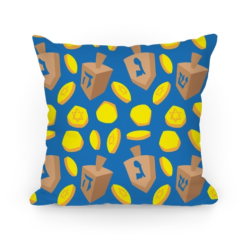 Dreidel and Hanukkah Gelt Pattern Pillow