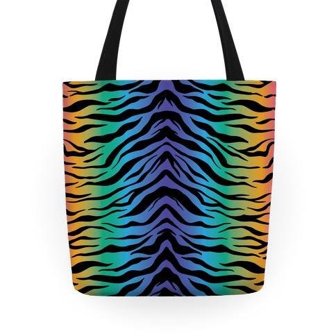 Tiger Stripe Rainbow 90s Pattern Tote