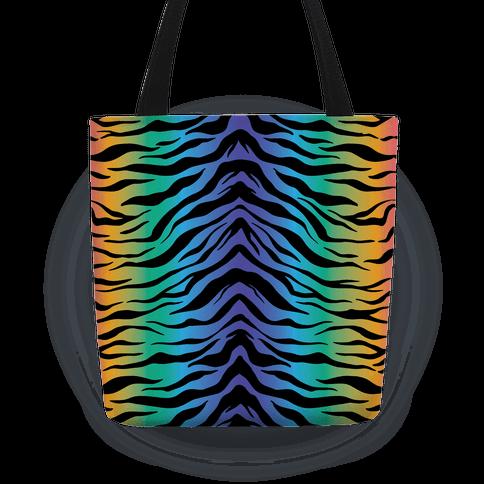 Tiger Stripe Rainbow 90s Pattern Tote
