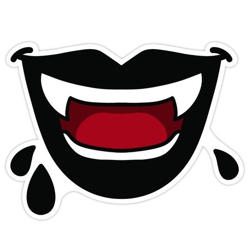 Black Vampire Lips Die Cut Sticker