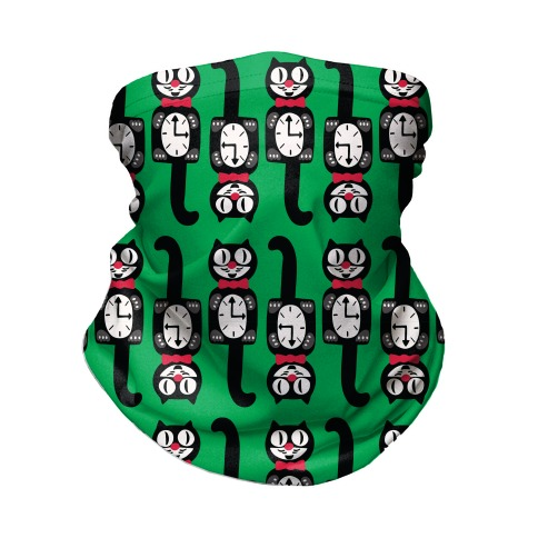 Retro Christmas Cat Clock Pattern Neck Gaiter