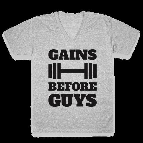Gains Before Guys V-Neck Tee Shirt