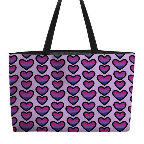 Bisexual Hearts Pattern Weekender Tote