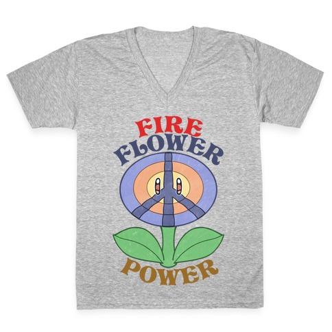 Fire Flower Power V-Neck Tee Shirt