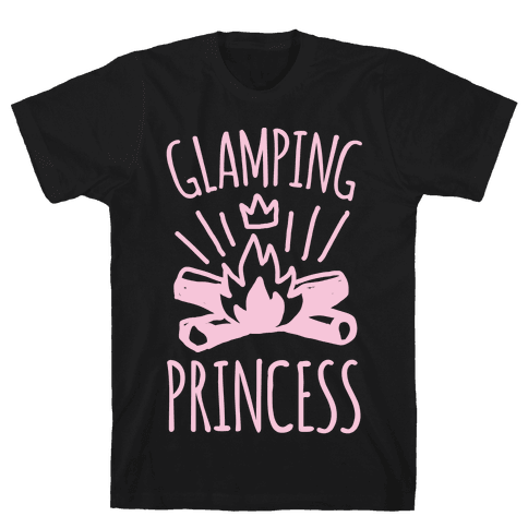 Glamping Princess White Print Mens T-Shirt