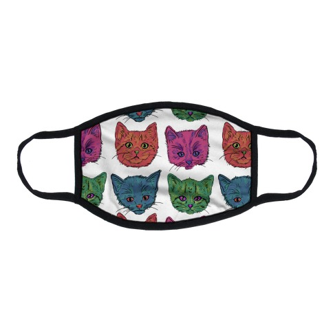 Colorful Kitten Square Pattern Flat Face Mask